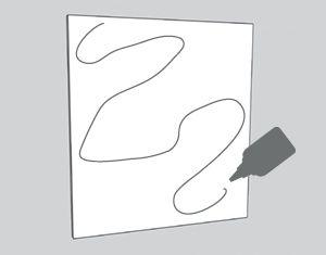 illustration of glue being spread on Masonite board